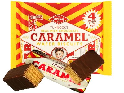 TUNNOCKS CHOC CARAMEL WAFERS 4 x 30 g